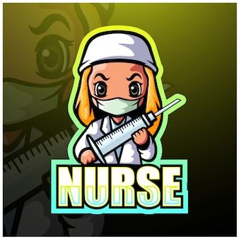 Verpleegster mascotte esport illustratie