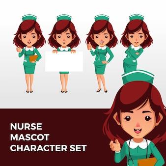 Verpleegster mascotte tekenset logo