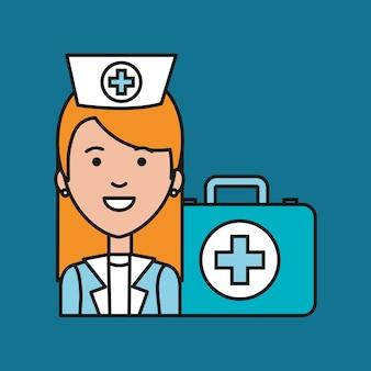 Verpleegster medische professional met case ehbo zorg