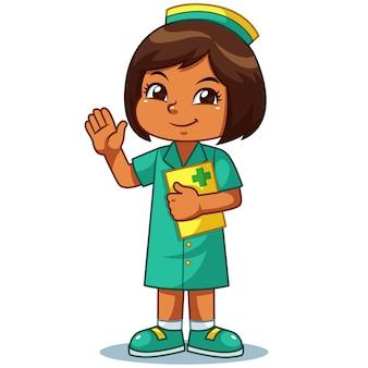 Verpleegster meisje vriendelijk verwelkomend pose.