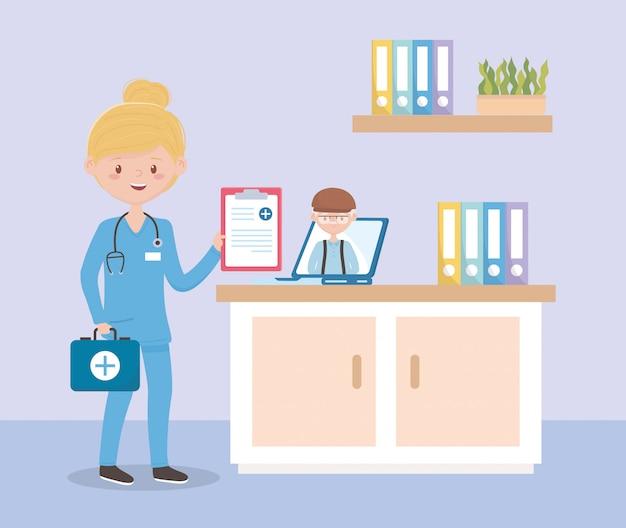 Verpleegster met stethoscoop en medisch rapport online overleg opa, artsen en ouderen