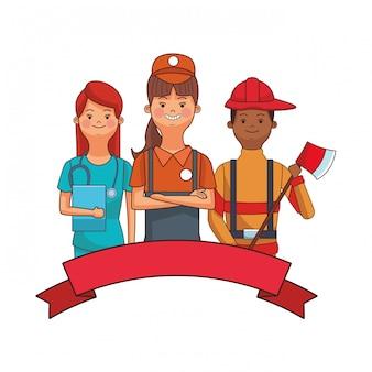 Verpleegster verkoper en brandweerman