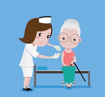 Oudere vrouw spuit