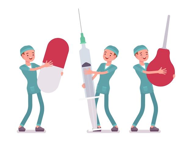 Verpleger en grote hulpmiddelen