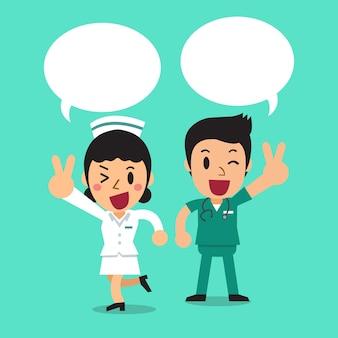 Verpleger en vrouwelijke verpleegster met tekstballonnen
