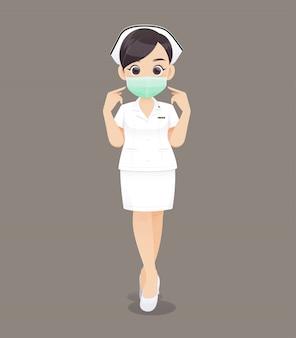 Verpleging draagt een beschermend masker, cartoon vrouw arts of verpleegkundige in witte uniform