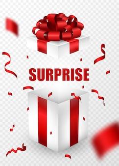 Verras lege open geschenkdoos met verrassende tekst. doos verpakt in rood lint en een strik op de top.