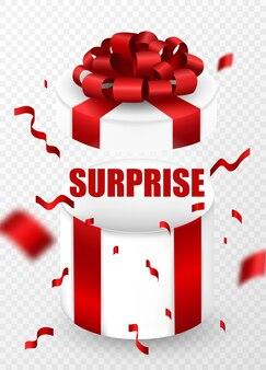 Verras lege open geschenkdoos verpakt in rood lint en een strik bovenop. verras tekst- en confetti-elementen.