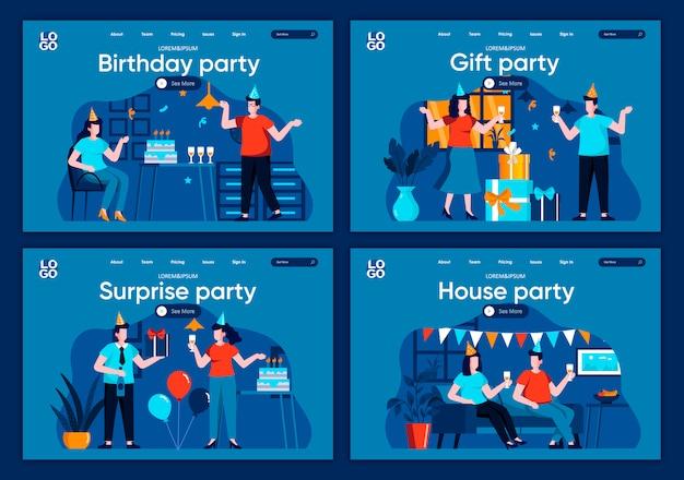 Verras partij platte bestemmingspagina's. feestelijk feestje thuis met vrienden en decoratiescènes voor website of cms webpagina. verjaardagsfeestje met geschenken en felicitaties illustratie.