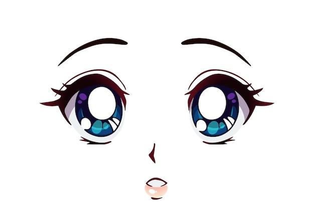 Verrast anime gezicht. grote blauwe ogen in manga-stijl, kleine neus en kawaii-mond. hand getekend cartoon vectorillustratie.