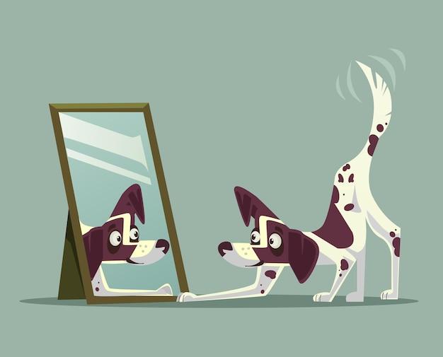Verrast nieuwsgierig hondkarakter dat spiegel bekijkt