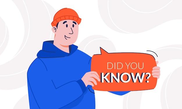 Verraste man met een lichte glimlach, wist je dat de tekstballon in zijn handen was. jonge man in hoodie en hoed die de aandacht trekt voor interessante feiten met notificatie tip plaat. up-to-date zijn.
