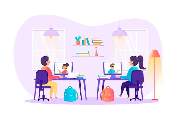 Verre leren en online onderwijs plat ontwerpconcept met de scène van mensenkarakters