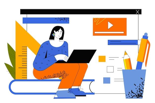 Verre leren webconcept. student bekijkt videocolleges, studeert op afstand met behulp van laptop. vrouw leert cursussen en trainingen thuis.