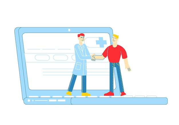 Verre online medische consultatie, slimme medische technologieën. dokter karakter handen schudden met de patiënt op het enorme laptopscherm, raadpleging van de externe gezondheidszorg. lineaire mensen
