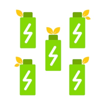 Verrekening batterij en blad als symbool van hernieuwbare energie. eco vriendelijke energie icoon concept
