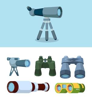 Verrekijker. reizen telescoop reflectie optische hulpmiddelen voor outdoor exploratie vector vlakke stijl illustraties. lensnavigatie, zoekapparatuur, zoom en zicht Premium Vector