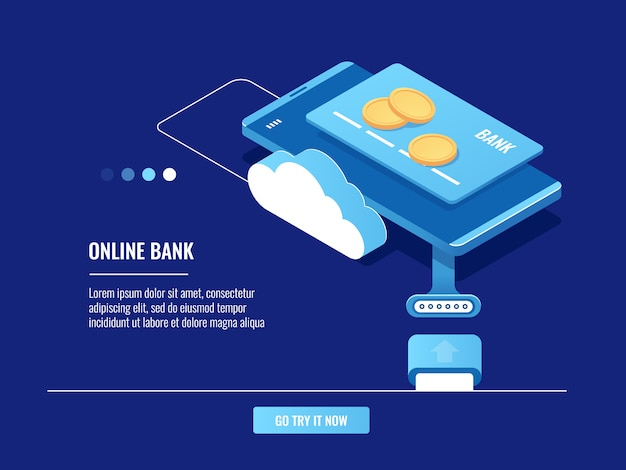 Verrichtingen met online geld, mobiele telefoon met creditcard en muntstukken, wolkenopslag