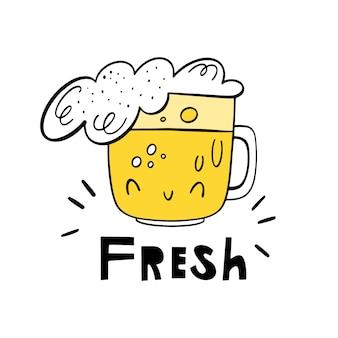 Vers bier. vector doodle illustratie van drankje in glas en belettering