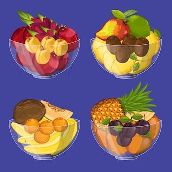 Vers biologisch fruit in glazen kom set
