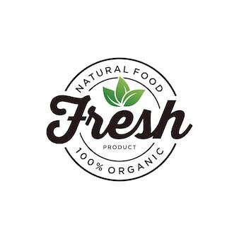 Vers biologisch voedsel natuurlabel sticker logo-ontwerp
