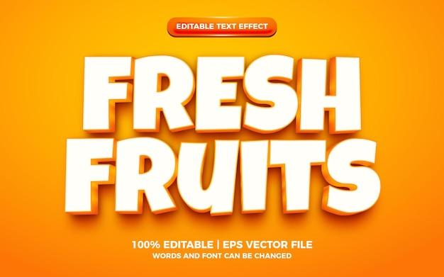 Vers fruit 3d-cartoon bewerkbaar teksteffect