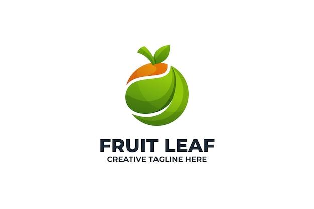Vers fruit blad kleurrijk gradiënt logo