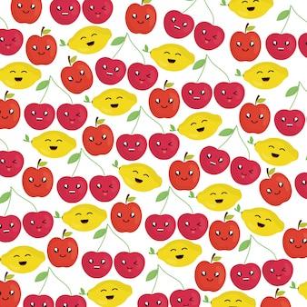 Vers fruit kawaii karakters