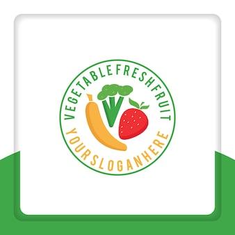 Vers fruit logo ontwerp groente voor commercie supermarkt