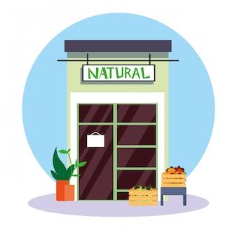 Vers fruit natuurlijke winkel gevel
