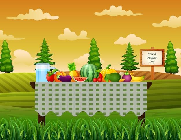 Vers fruit op tafel in de tuin achtergrond