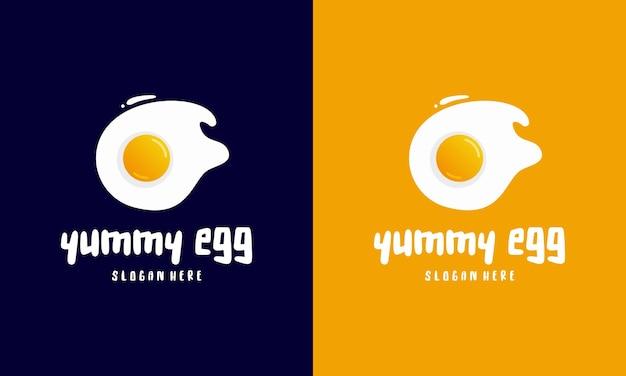 Vers gebakken ei logo sjabloonontwerpen, yummy ei logo vectorillustratie