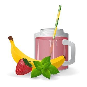 Vers geperste fruitcocktail. gezond eten.