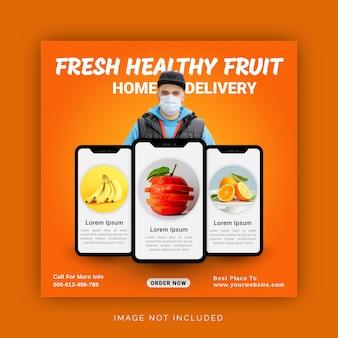 Vers gezond voedsel met thuisbezorging instagram-banneradvertentie social media post-sjabloon
