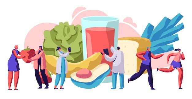 Vers gezond voedsel typografie bannerontwerp. biologische maaltijd voor dieet diabetes gezondheidsconcept. salade en fruitmenu voor vegetarische levensstijl reclame poster platte cartoon vectorillustratie