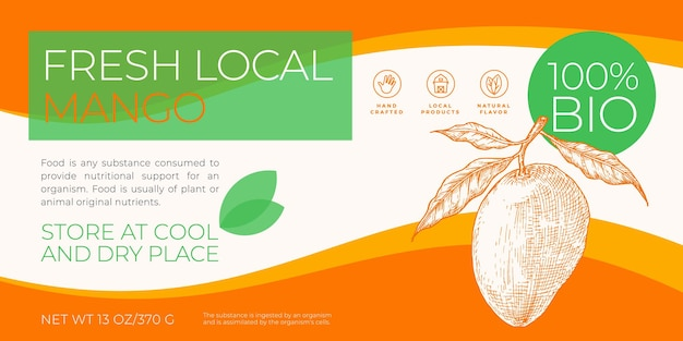 Vers lokaal fruit labelsjabloon abstract vector verpakking horizontale ontwerp lay-out moderne typogra...