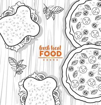 Vers lokaal voedsel tekening in houten tafel