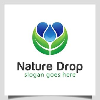 Vers natuurblad en waterdruppel ontwerpconcept regenachtige tuin logo-ontwerp
