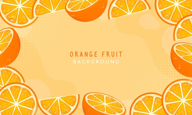 Vers oranje fruitkader vectorontwerp als achtergrond