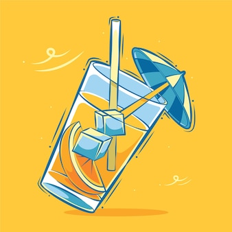 Vers oranje ijs in een illustratie van de glasbeeldverhaal