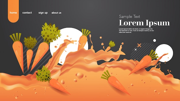 Vers oranje wortelsap vloeibare plons realistische spatten gezonde groenten spatten golven horizontale kopie ruimte