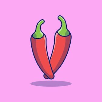 Vers rijp rood chili fruit vector illustratie ontwerp premium concept