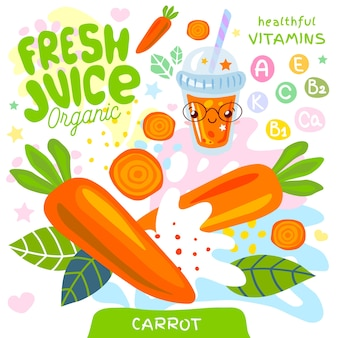 Vers sap biologisch glas schattig kawaii karakter. abstracte sappige plonsgroenten vitamine grappige kinderstijl. wortel groente lekkere smoothies beker. illustratie.
