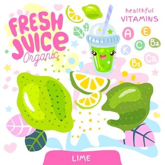 Vers sap organisch glas schattig kawaii karakter. abstracte sappige splash fruit vitamine grappige kinderen stijl. limoen citrus tropische exotische yoghurt smoothies beker. illustratie.