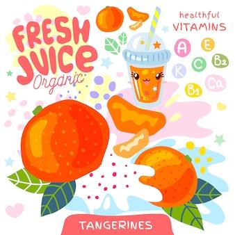 Vers sap organisch glas schattig kawaii karakter. abstracte sappige splash fruit vitamine grappige kinderen stijl. mandarijnen citrus tropische exotische yoghurt smoothies beker. illustratie.