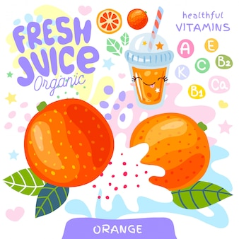 Vers sap organisch glas schattig kawaii karakter. abstracte sappige splash fruit vitamine grappige kinderen stijl. oranje citrus tropische exotische yoghurt smoothies beker. illustratie.