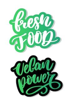 Vers veganistisch eten belettering kalligrafie rubberstempel groen