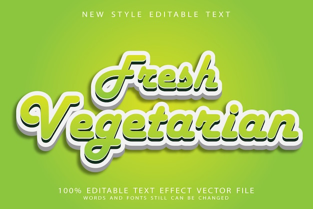 Vers vegetarisch bewerkbaar teksteffect in reliëf in moderne stijl