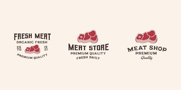 Vers vlees logo premium vector sjabloon, vleeswinkel, rundvlees logo, steakhouse, biefstuk