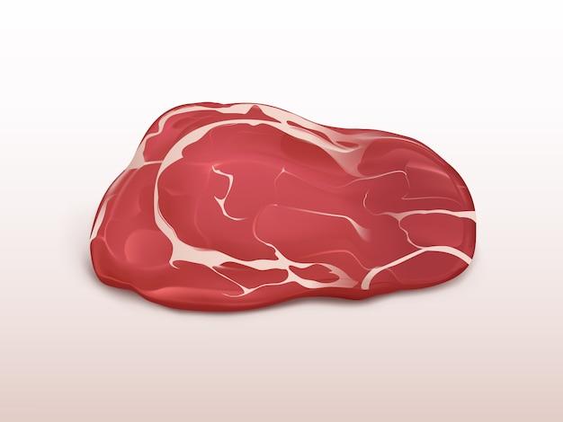 Vers vlees marmeren die rundvleeslapje vlees op witte achtergrond wordt geïsoleerd. groot stuk rauw rundvlees.